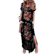 Amazon Com Tnaiolral Women Dresses Summer Loose Pocket Long