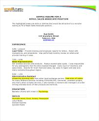 Retail Resume Template Microsoft Word Sales Resume Example 7 Free