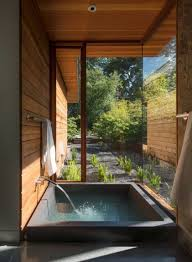 Asian Style Natural Bathroom with Square Sunken Bathtub and Garden View The  Unique Bathroom Designs with