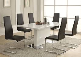 coaster modern dining 7 piece white table black upholstered chairs set coaster fine furniture