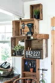 crate wall shelves stacked vintage crates and a reclaimed wood shelf for a rustic kitchen phone