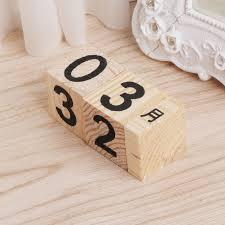 calendar wooden blocks vintage wood block perpetual calendar reusable number letter cube
