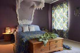 Consider this as subtle version of boho decor with a beatiuful lacy canopy,  boho curtains