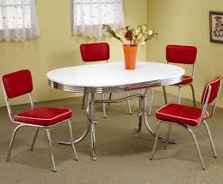 Red dining table set Modern Details About Retro 1950s Oval Dining Table And Red Chair Piece Set By Coaster 20652450r Ebay Retro 1950s Oval Dining Table And Red Chair Piece Set By Coaster