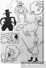Quadro Su Tela Personaggi Dei Cartoni Animati Fissati Per Il Libro
