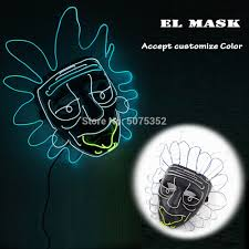 Rick And Morty Light Up Poster Us 14 79 30 Off Drop Shipping Rick And Morty El Mask Movies Cosplay Light Up Glowing Mask Neon Led Luminous Mask For Halloween Night Club Bar In