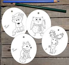 Gift Tag Coloring Page Animal Gift Tag Printable Children Adult Coloring Page Christmas Package Label Kids Christmas Activity Download Diy Child Toddler Gift