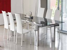 ... Dining Tables, Astonishing Silver Rectangle Modern Metal Glass Dining  Room Table Sets Varnished Ideas: