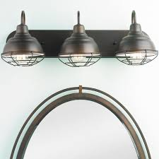 industrial bathroom lighting. industrial cage 3 light vanity bathroom lighting