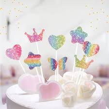 5pcslot Heart Flash Stars Butterfly Cake Topper For Party