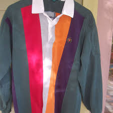 vintage 80s 90s colorblock rugby striped mens collared long sleeve shirt l