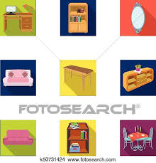 isometric office furniture vector collection. Clipart - Coffee Maker, Sofa, Mirror, Table Service In The Restaurant And Other Isometric Office Furniture Vector Collection