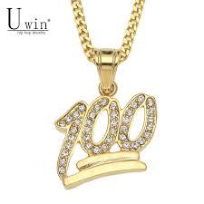 uwin golden emoji 100 logo pendant snless steel iced out bling rhinestone crystal men s hip hop