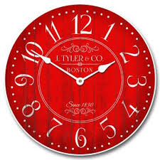 large red wall clock red and white