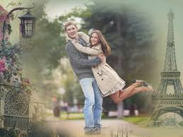 the photo background is changed to a romantic with vine photo frame