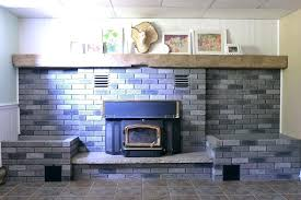 update brick fireplace gray washed with stone accents