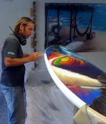 kem mcnair combines his surfboard manufacturing experience and art  on hand painted surfboard wall art with kem mcnair creates custom surfboards as wall art lexjet blog