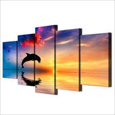 sunset dolphin 5 panel canvas wall art  on dolphin canvas wall art with sunset dolphin 5 panel canvas wall art ocean helper