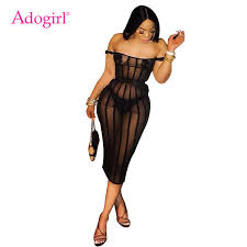 Adogirl Ruffle Sheer Lace Bodycon Dress Plus Size S 4XL <b>Women</b> ...