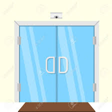 glass double door. Transparent Glass Double Door For Some Commercial Building Interior. Flat Design Vector Illustration Stock E