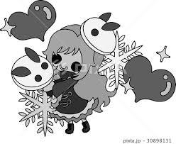 冬と女の子の可愛いイラスト 可愛い雪ウサギ のイラスト素材 30898131