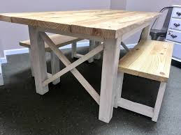 rustic farmhouse table set with a natural top and white distressed base dining set with two benches criss cross x design wood kitchen set