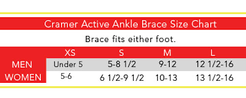 Active Ankle T2 Size Chart Cramer Active Ankle T2