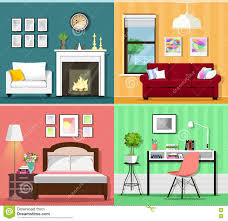 colorful home office. Set Of Colorful Graphic Room Interiors With Furniture Icons: Living Rooms, Bedroom And Home Office. Flat Style Vector Illustration 74149133 - Office