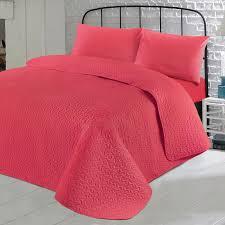 pink quilt bedding. Wonderful Pink LuxuriousPlainColourSoftQuiltedEmbossedBedspreadQuilt In Pink Quilt Bedding