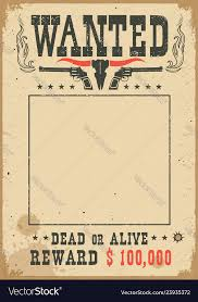 Wanted Poster With Wild West Decoration Western