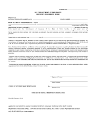 surety bond form north carolina insurance broker resident surety bond