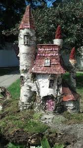 birch stumps logs turned into a fairy garden castle these are awesome