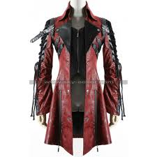 gothic poison punk rave red black military leather coat