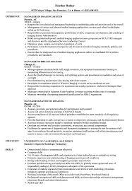 Manager Imaging Resume Samples Velvet Jobs