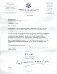 Letter From Mike Thompson Member Of Congress Ghilotti