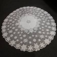 vintage tablecloth white round lace table cloth topper snowflake 70