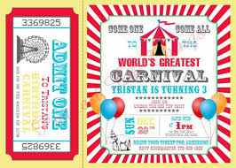 Circus Party Invitation Magnificent Carnival Birthday Party Invitations WebsolutionvillaCom