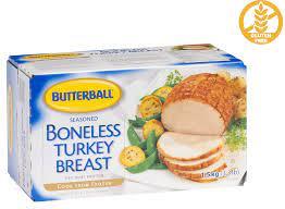 Boneless turkey roast frozen, seasoned, light and dark meat, raw 1 oz 34.0 calories 1.8 g 0.6 g 5.0 g. Boneless Turkey Breast Butterball