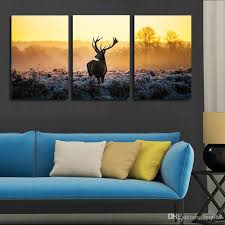 3 piece canvas art stylish african sunset deer painting group children s room decor intended for 6  on 3 piece canvas wall art diy with 3 piece canvas art stylish african sunset deer painting group