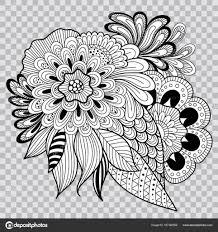 черный и белый цветочный колорит на прозрачном фоне цветок тату