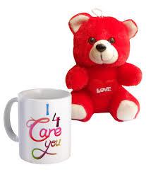 sky trends i care 4 you mug and teddy valentine s day gifts set sky trends i care 4 you mug and teddy valentine s day gifts set at best in india