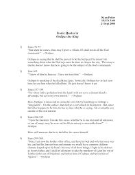 dramatic irony essay oedipus king