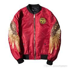 luxury er jacket men winter streetwear embroidery angle wings casual windbreaker waterproof jackets hip hop coat leather jacket types nice jackets for
