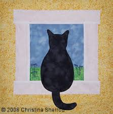 "Quilt Inspiration: Free pattern day: Cat and Dog quilts! & Art Nouveau Cats quilt, 50 x 50"", free pattern by Marinda Stewart for  Michael Miller Fabrics (PDF download) Adamdwight.com"