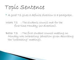 topic sentence 12 to make a good