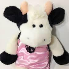 plush cow moo sounds black white