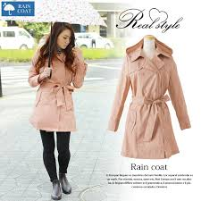 storage pouch trench coat raincoat fashionable rainwear jacket trench coat with water repellent processing commuter school rain wear long sleeves coat outer