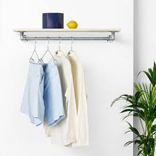 Wall mounted clothing rails Hanger Wallmounted Clothes Rail With Shelf Rackbuddy Marlow Silver Rackbuddycom Rackbuddy Wallmounted Clothes Rail With Shelf Rackbuddy Marlow Silver