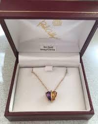 new 9ct gold amethyst citrine split heart necklace