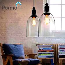 permo industrial 7 clear glass pendant lights vintage black pendant ceiling lamps modern dining hanglamp luminaire bar decor
